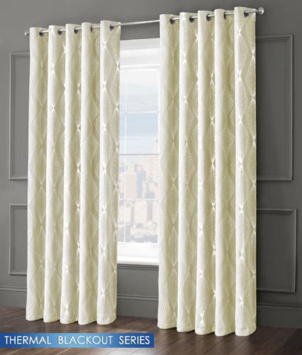 GEOMETRIC AZTEC LIVINGROOM BEDROOM THERMAL BLACKOUT RING TOP EYELET CURTAINS CREAM